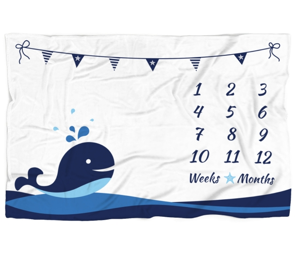 Baby Milestone WHALE BLANKET Baby Boy Month Blanket