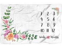Floral Baby Milestone Blanket B07CLGB95Y